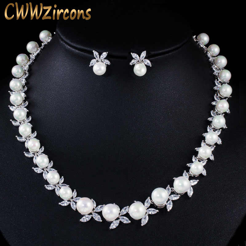 CWWZircons Shiny Cubic Zirconia Paved Round Big Pearl Bridal Wedding Party Necklace Earrings Jewelry Sets for Women T359