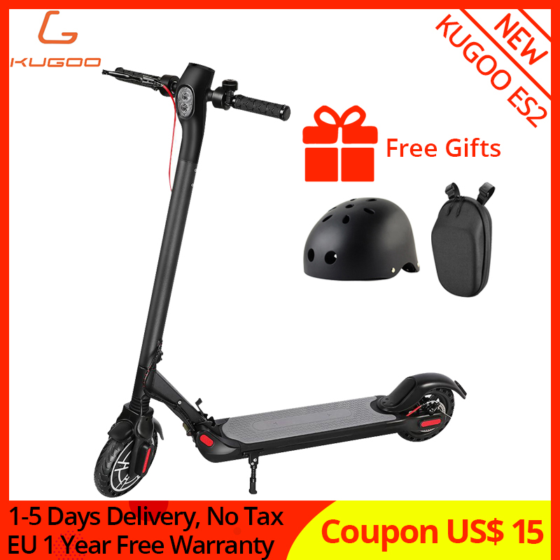 KUGOO ES2 Folding Electric Scooter Electric and Disc Brake 8.5 inch 25km Range APP Control with USB Port Honeycomb Solid Tire