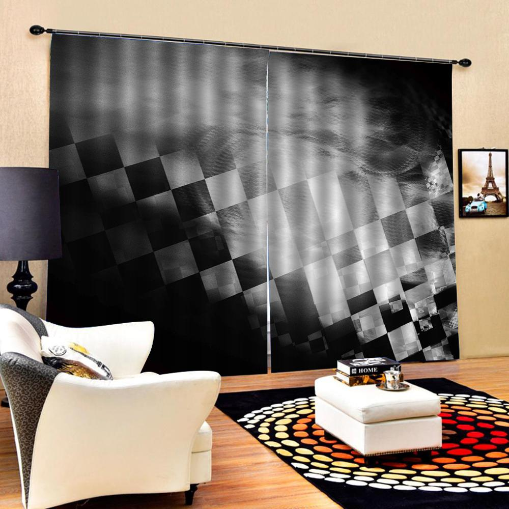 Drapes Cortinas Customized size Luxury Blackout 3D Window Curtains For Living Room black and white curtains