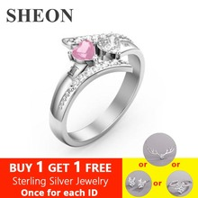 SHEON Authentic 925 Sterling Silver Engagement Rings For Women Birthstone Engrave Name Heart Wedding Ring Anniversary Gift uny ring 925 sterling silver mother customized engrave rings family heirloom ring anniversary personalized love birthstone rings