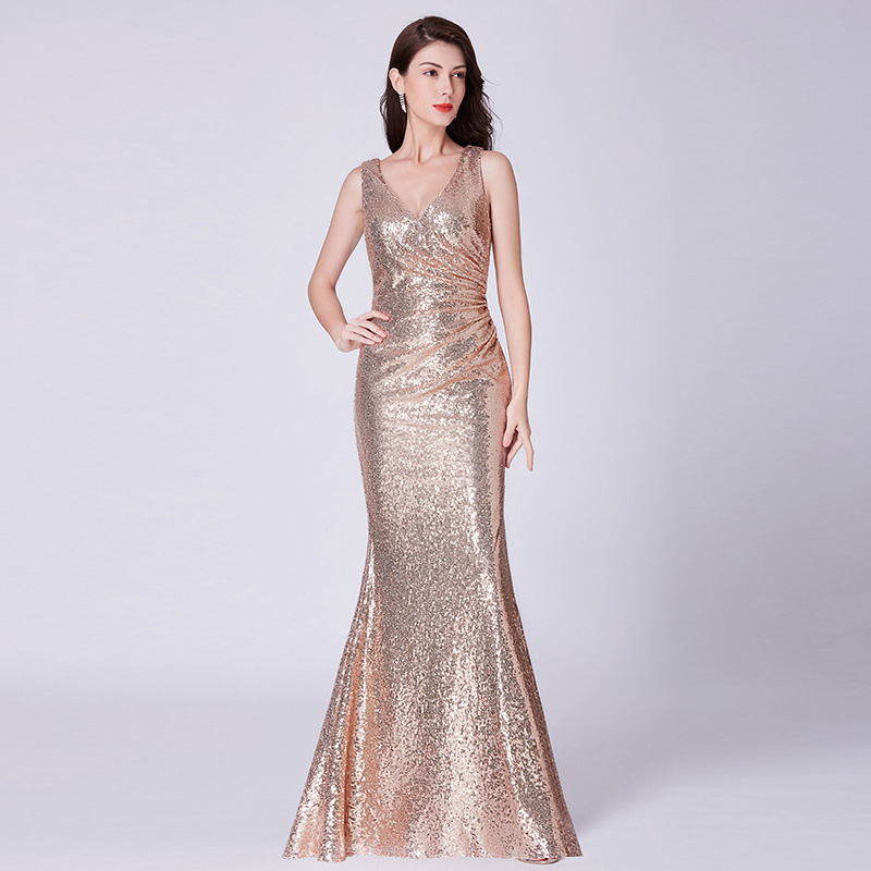 2019 Evening Dress Elegant V-neck Sleeveless Evening Gowns Prom Dress Mermaid Floor-length Formal Dress
