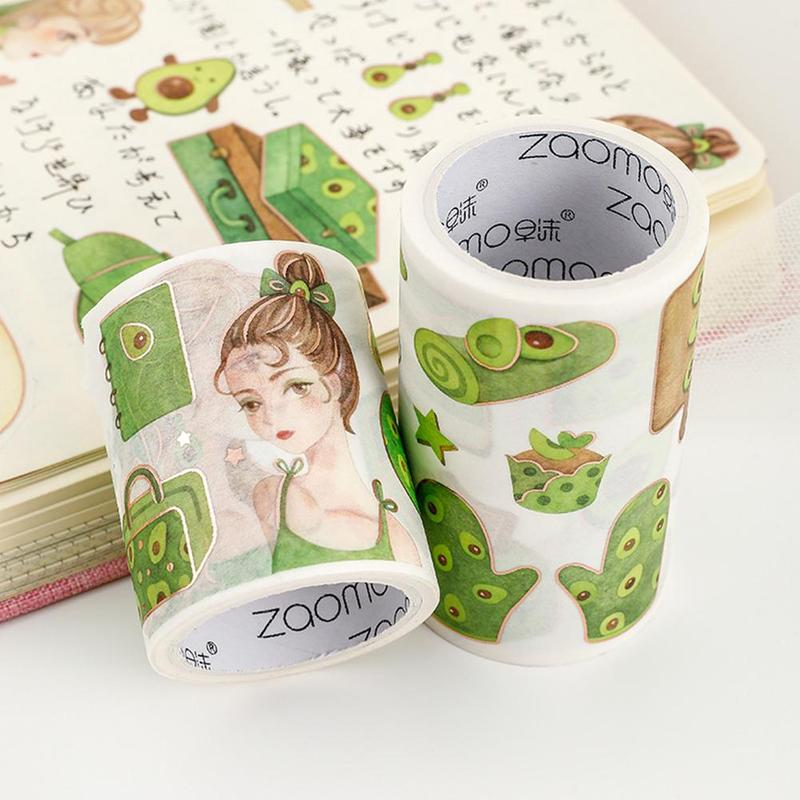 1PC Cute Avocado Girl Series Journal Washi Masking Tape Decorative Adhesive Tape DIY Scrapbooking Sticker Label Stationery