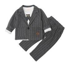 Рекомендуемый классный Свадебный костюм в полоску в английском стиле для мальчиков, комплект из 2 предметов, костюм для мальчиков, пальто, наряд для мальчиков, 3163