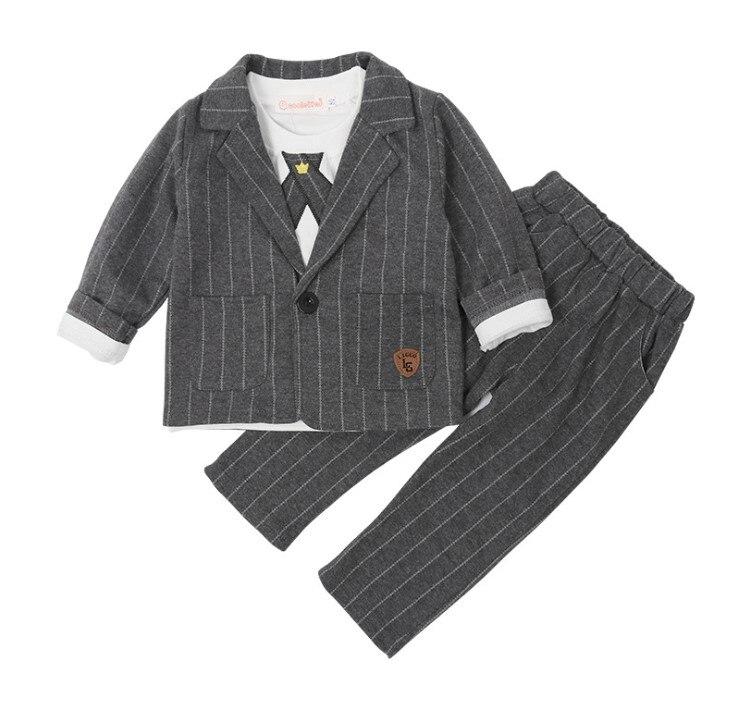 Recommend~England Style Cool Boy's Striped Wedding Party Suit/2-Pcs Set Boy Suit Coat/Boy's Attire 3163