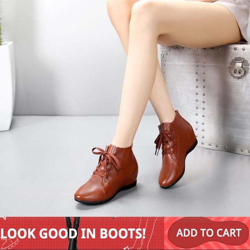 GKTINOO Plus rozmiar 34 43 kobiet buty kobieta prawdziwej skóry kliny botki na co dzień wysokość zwiększenie buty damskie buty zimowe w Buty do kostki od Buty na AliExpress - 11.11_Double 11Singles' Day 1