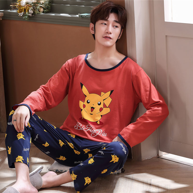 Men's Pajamas Spring And Autumn Cotton Long Sleeve Cartoon Youth Autumn And Winter All Cotton Home Clothes Student Winter Suit