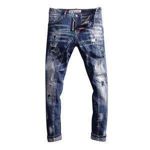 Image 1 - Pantalones vaqueros de estilo italiano para hombre, Vaqueros ajustados con empalme de diseño, rasgados, estilo Hip Hop, ropa de calle, vaqueros de motorista, 2020