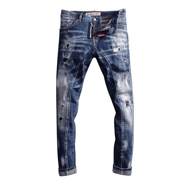 Pantalones vaqueros de estilo italiano para hombre, Vaqueros ajustados con empalme de diseño, rasgados, estilo Hip Hop, ropa de calle, vaqueros de motorista, 2020