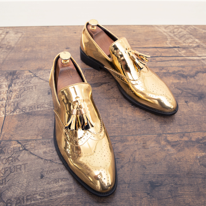 2019new Spring and autumn <font><b>men</b></font> <font><b>shoes</b></font> gold Bright skin male comfortable oxford <font><b>shoes</b></font> luxury brogues <font><b>mens</b></font> Business Moccasin <font><b>shoes</b></font> image
