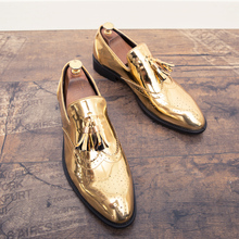 2019new Spring and autumn men shoes gold Bright skin male comfortable oxford