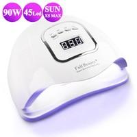 90W Pro Nail Dryer Set UV Lamp Fast Curing For All Gel Polish Varnish Glue 45 Leds Infrared Sensor Nail Art Lamp Machine BEFBX5|Nail Dryers|Beauty & Health -
