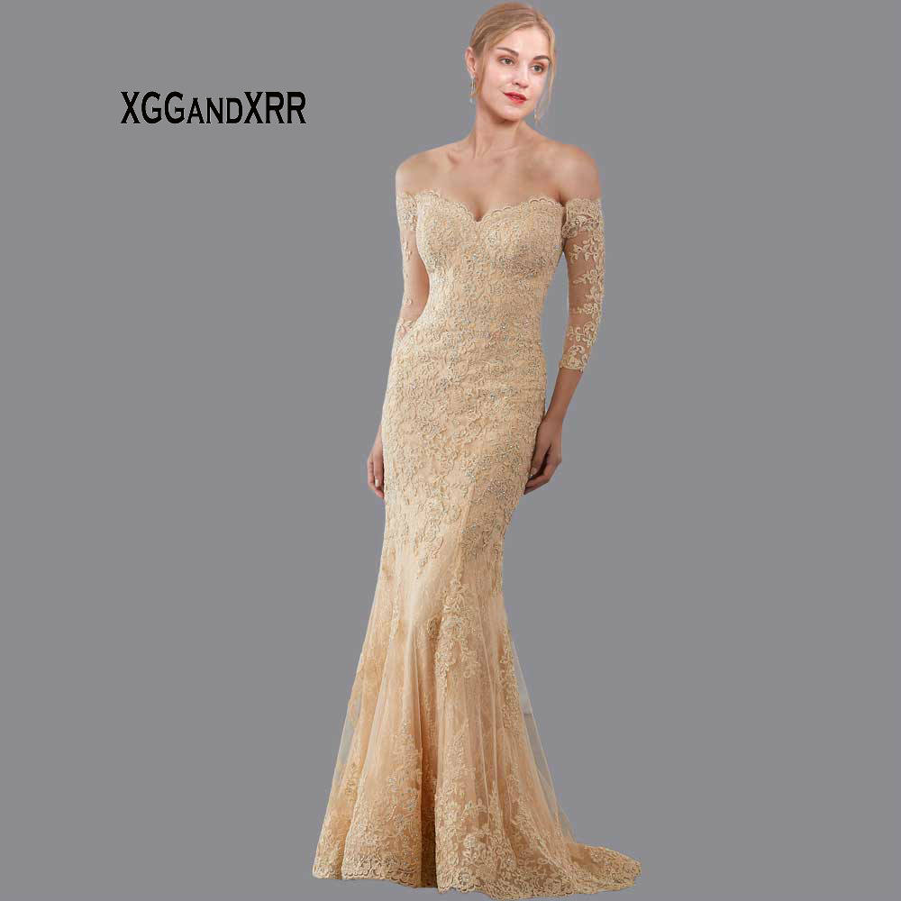 Elegant Champagne Mermaid Layered Lace Mother Of The Bride Dress 2020 Beaded Applique Long Formal Evening Party Gown 3/4 Sleeves