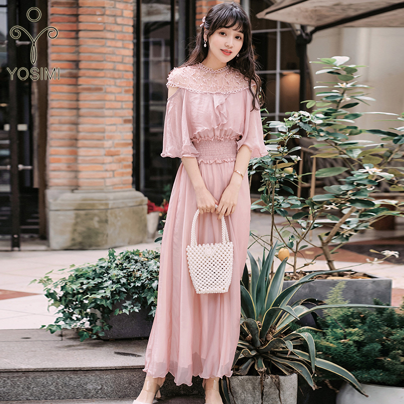 YOSIMI 2020 Spring Full Sleeve Stand-neck Ladies Party Dress Vintage Fit and Flare Mid-calf Chiffon and Lace Women Dress Elegant