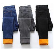 Зимние женские джинсы 2019 бархатные теплые брюки карандаш джинсовые