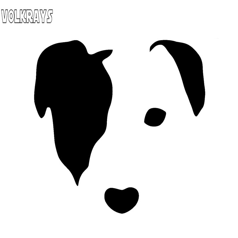 Volkrays Fashion Car Sticker Cute Jack Russell Face Dog Accessories Reflective Vinyl Decal Black/Silver/white,10cm*10cm image