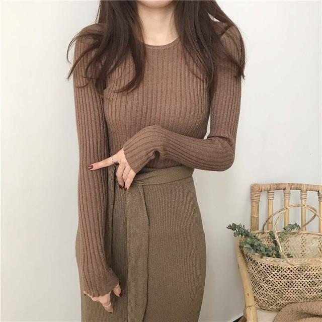 Basic Knitted Sweater Women Autumn Winter Bottoming Sweaters Pullover Lady Casual O-neck Slim Jumper 4