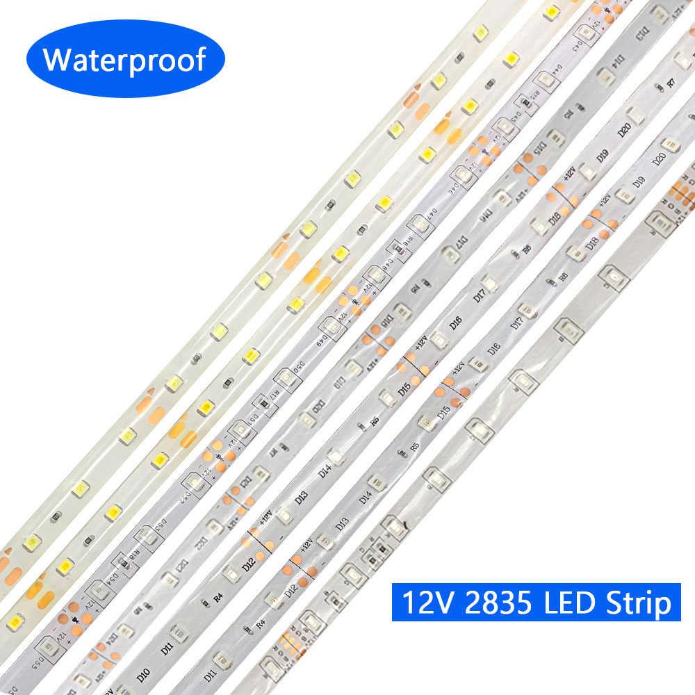 DC 12 V V taśma oświetleniowa led taśma 2835 RGB wodoodporna 1-5 M 12 V DC 60LED/M listwy RGB led lampa taśmowa diody elastyczne podświetlenie tv