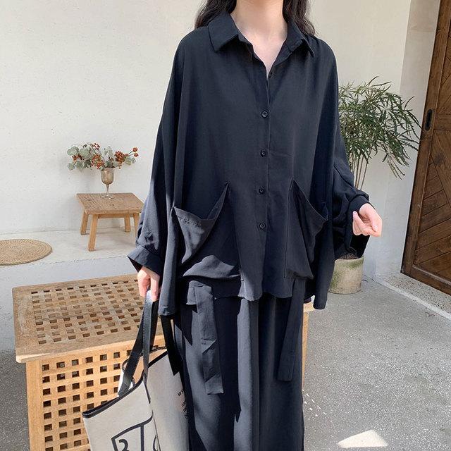Women 2 Piece Set Long Sleeve Casual  Pockets Loose Large Pants Suit Solid Black 6