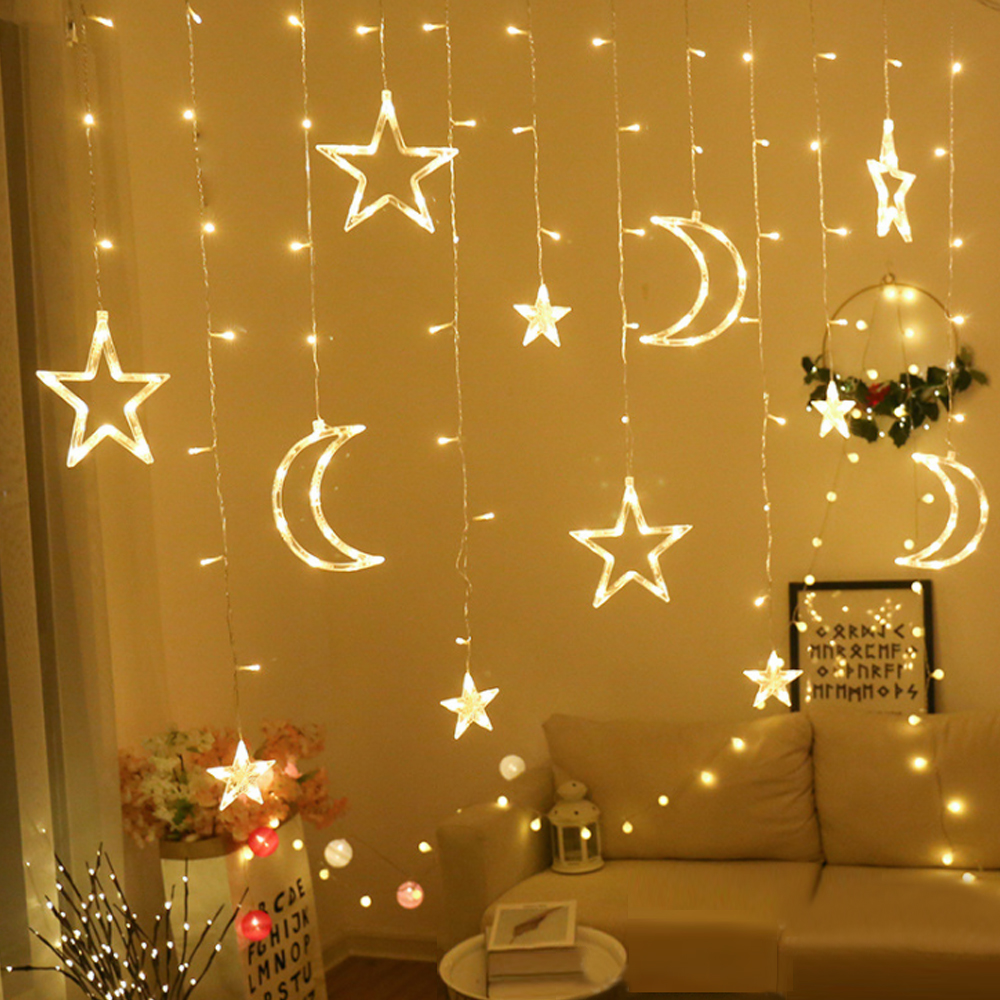 LED Fairy Curtain Light Moon Star Pentagram Garland Lamp String Lights For Christmas Holiday Wedding Decoration EU/USB Plug