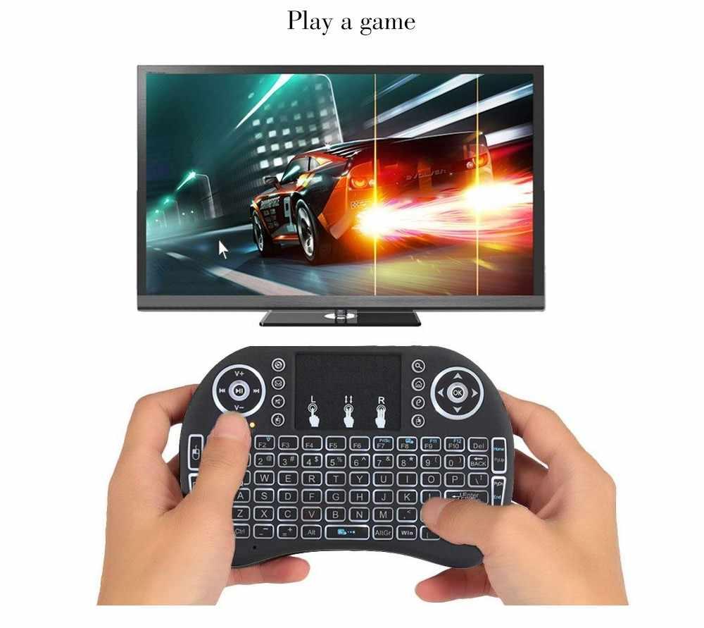 2.4G I8 Mini Toetsenbord Draadloos Toetsenbord Backlit Air Mouse Engels Russisch Spaans Frans Afstandsbediening Voor Android Tv Box