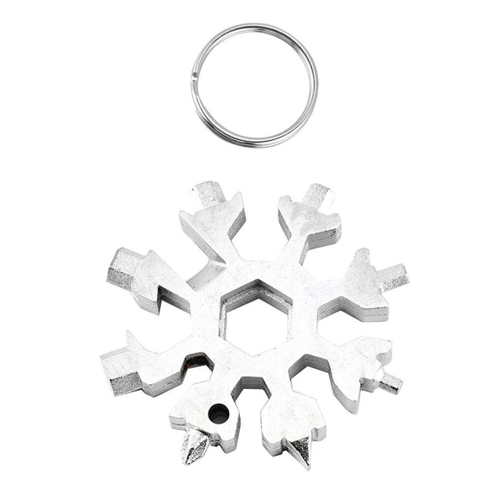 18 In 1 Stainless Steel Snowflake Multi tool Keychain Hand Outdoor Tools