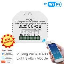 2Gang 2Way WiFi+RF433 Smart Light Switch Wireless Tuya Breaker Module Smart Life APP Remote Control Work With Alexa Google Home