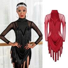 Платье для латинских танцев, Дамское Платье для танго, Румба, ча-Самба, одежда для выступлений, Сетчатое платье с длинным рукавом и кисточками для соревнований, платья DN4369