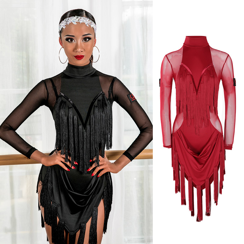Latin Dance Dress Lady Tango Rumba Cha Cha Samba Performance Wear Seethrough Mesh Long Sleeve Tassel Competition Dresses DN4369