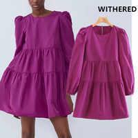Flétri angleterre style vintage taffetas solide en vrac cascade mini robe femmes vestidos de fiesta de noche vestidos grande taille