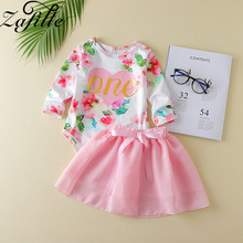 ZAFILLE Summer Girls Clothes Long Sleeve Toddler Baby Sets 2Pcs Letter Printed Romper+ Solid Skirt Outfits Baby Girl Clothes zafille girls clothing 2pcs lace top leopard skirt baby girl clothes long sleeve toddler outfits sets kids clothes baby clothing