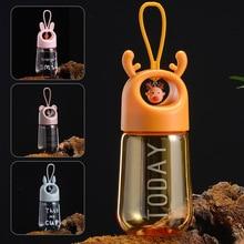 480ml Cute Water Bottle Creative Bear Elk Pendant Kids BPA Free Sports Kettle Students Portable Cup Boys Girls Christmas Gift