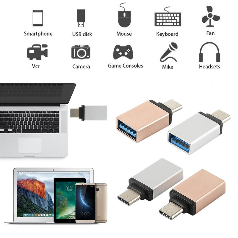 New Type C Male Adapter To USB 3.0 A Female Converter OTG Function White And Rose Red OTG Data Sync Adapter For Macbook