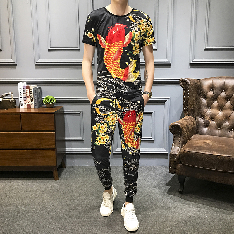 2020 Summer Casual Suits Men's Sportswear Ice Silk Short Sleeve 2Pcs T-shirt +sweatpants Tracksuit Hip Hop Sets Men Clothes 5XL