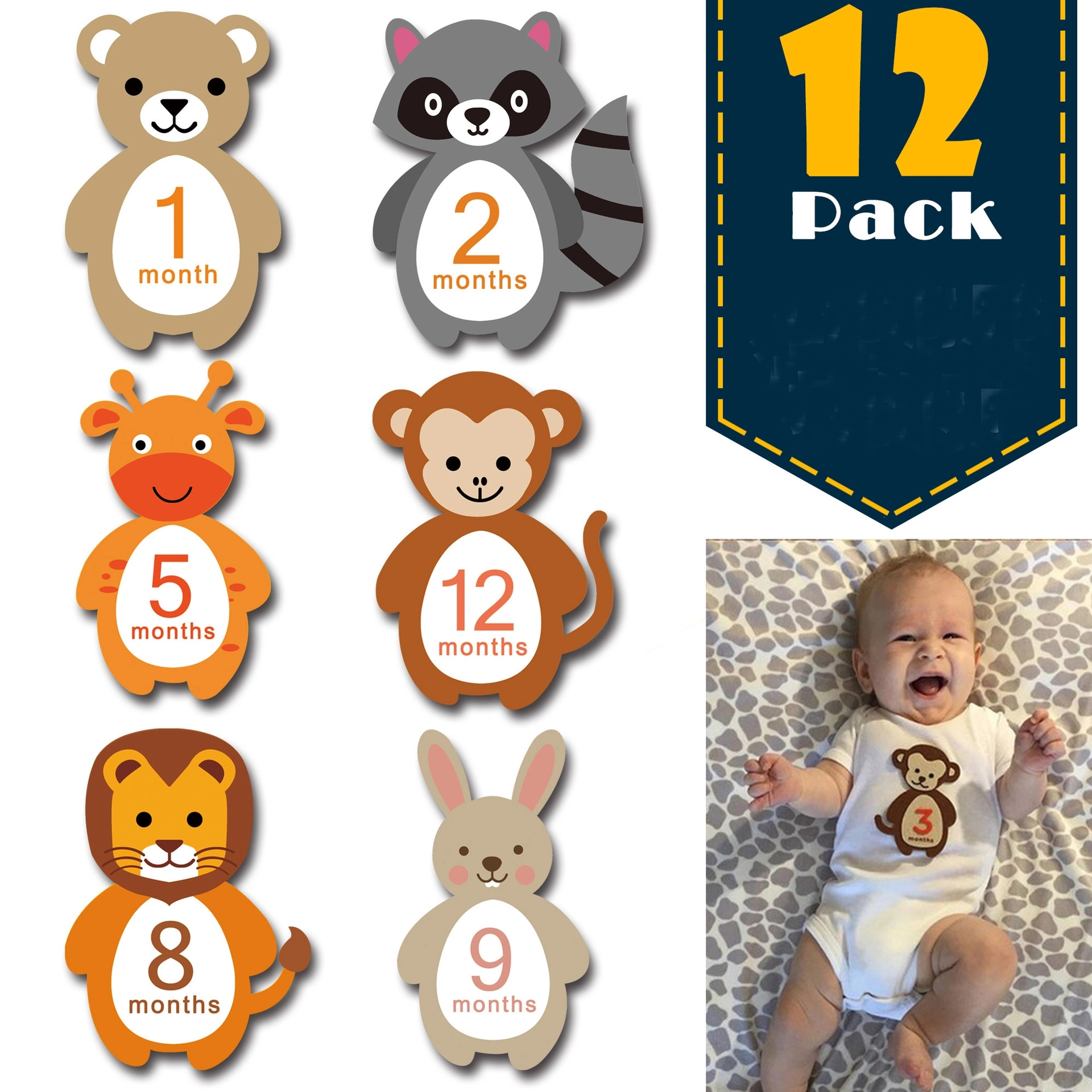 PatPat 2020 New 12-pack Resuable Animal Design Baby Monthly Milestone Stickers