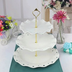 3 poziomy stojak na desery z uchwytem ciasto talerz na owoce patera na ślub wakacje w domu urodziny świąteczne spotkanie przy herbacie w Naczynia i talerze od Dom i ogród na