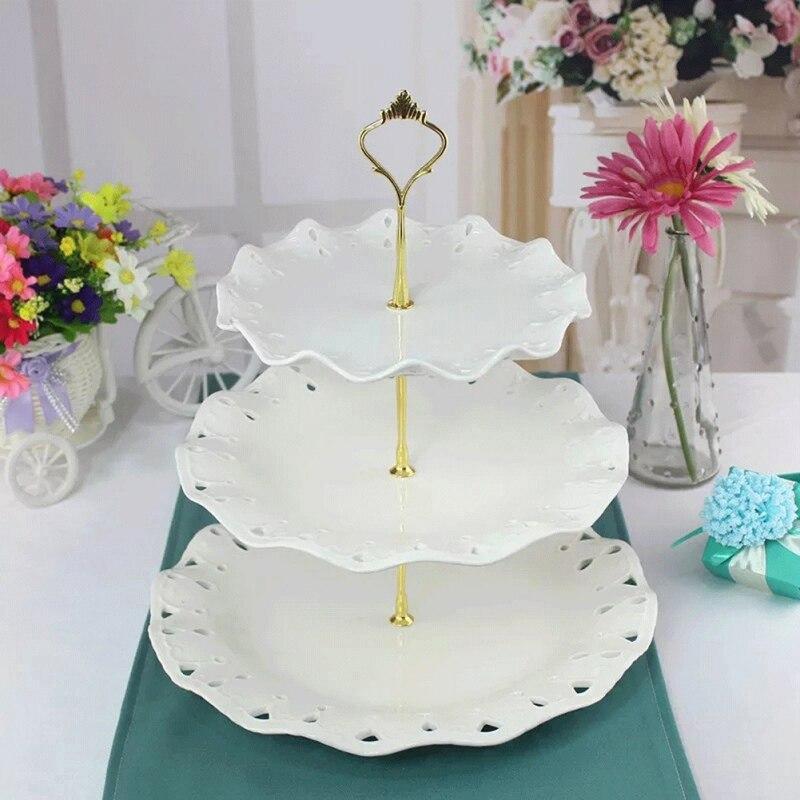 Soporte de postre de 3 niveles con mango plato tarta fruta soporte de exhibición para fiesta de té de Navidad de cumpleaños en casa de la boda