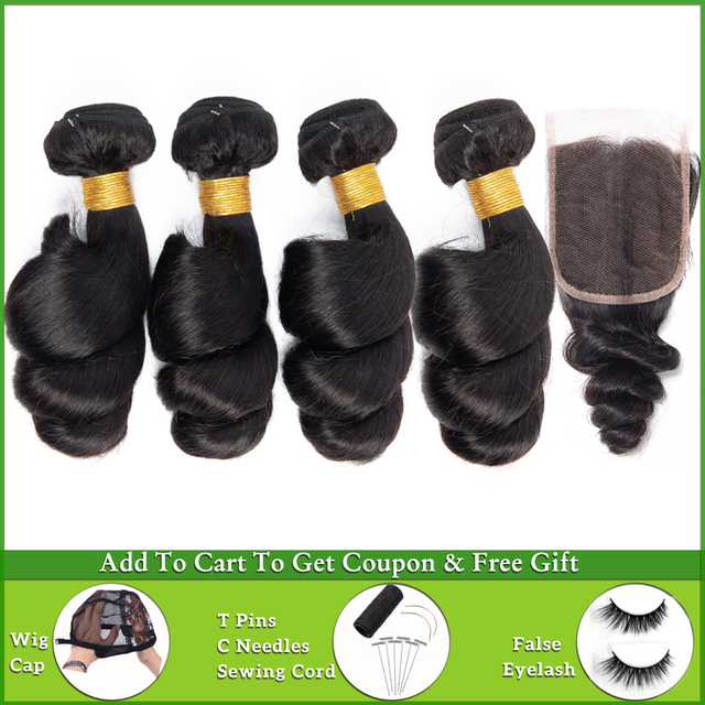 LEVITA loose wave bundles with closure Brazilian hair weave bundles 100% human hair bundles with closure non-remy hair extension