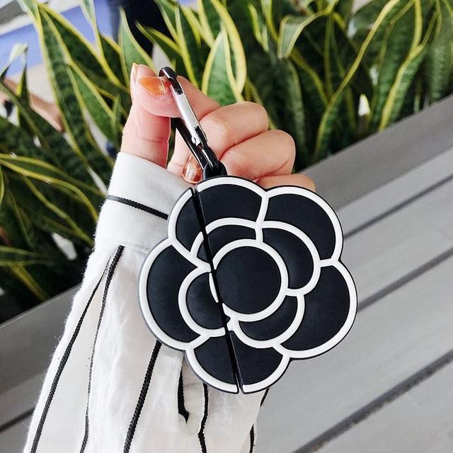 Funda protectora de silicona para auriculares para Apple Airpods 1 y 2, funda de lujo clásica 3D con estampado de Camelia y flores para mujer a prueba de golpes