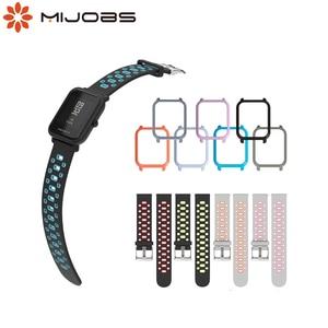 Image 1 - Mijobs 20mm Amazfit Strap Silicone Wrist  PC Case Cover for Xiaomi Huami Amazfit GTR Bip BIT PACE Lite GTS  Smartwatch Correa