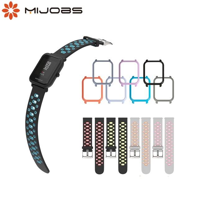 Mijobs 20mm Amazfit Strap Silicone Wrist  PC Case Cover for Xiaomi Huami Amazfit GTR Bip BIT PACE Lite GTS  Smartwatch Correa