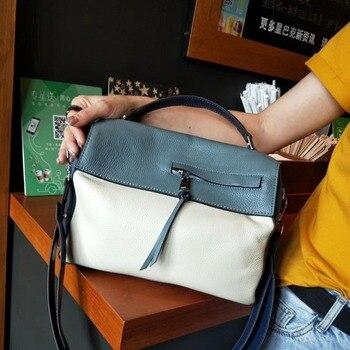 Women's Bag 2019 Fall/winter New Fashion Hand Bill of Lading Shoulder Messenger Bag Color Bag