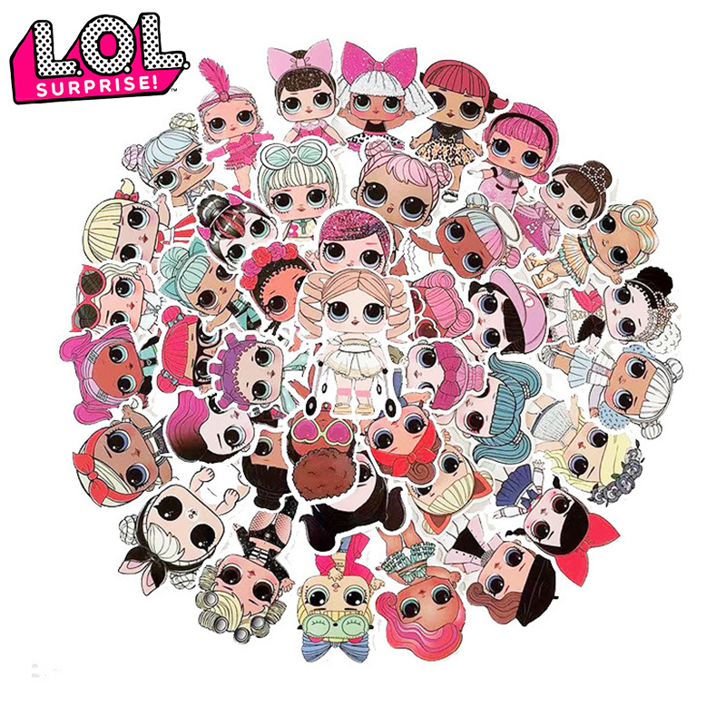Original LOL Surprise Stickers L.O.L. Surprise! Toys Girl Cartoon Figure Toys 50pcs/lot PVC Waterproof Stickers