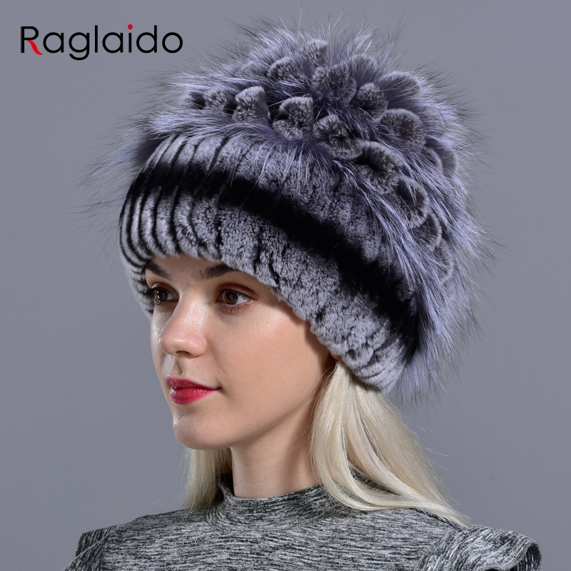 Natural Fur Hats For Women  Winter Knitted Rabbit Rex Hand Sewn Real Fur Warm Floral Elegant Girls Fashionable Stylish Hat