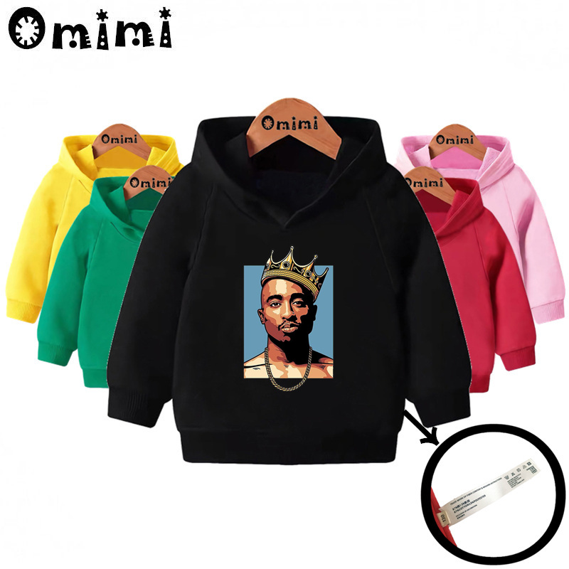 Kids Tupac 2pac Hip Hop Swag Print Sweatshirts Children Hooded Hoodies Baby Pullover Tops Toddler Girls Boys Clothes,KMT287