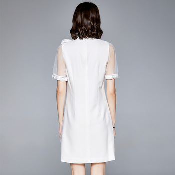 2020 New Summer Dress Short Style Lady Bowknot Tie Belt Round Neck Net Yarn Sleeve Splicing Bright Line Skirt Elegant Dress 4