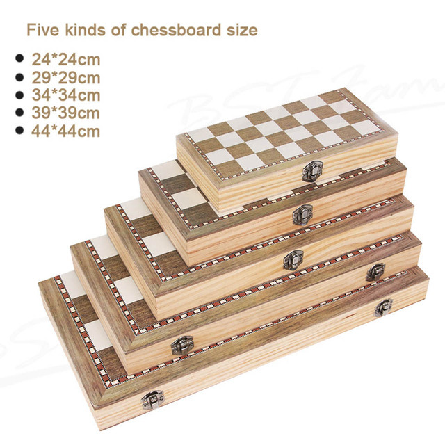 Jeu d'échec et de dames 3 en 1, Backgammon en bois, pour enfants et adultes 5