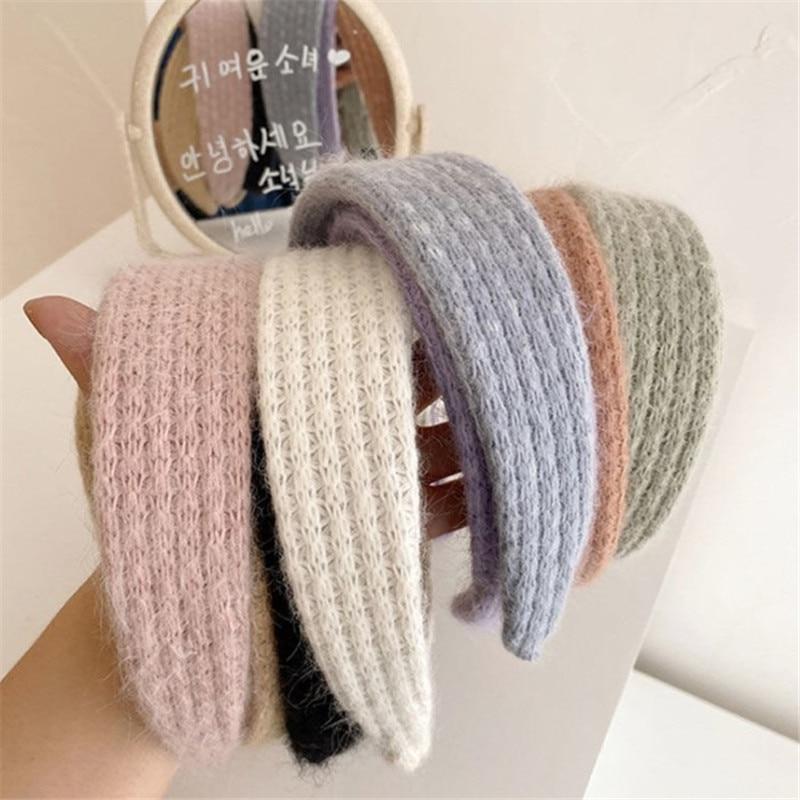 Solid Color Hairband Headbands Retro Women Girl Wide Braided Hair Hoop Headwear Headdress Headwrap Ornaments Accessories