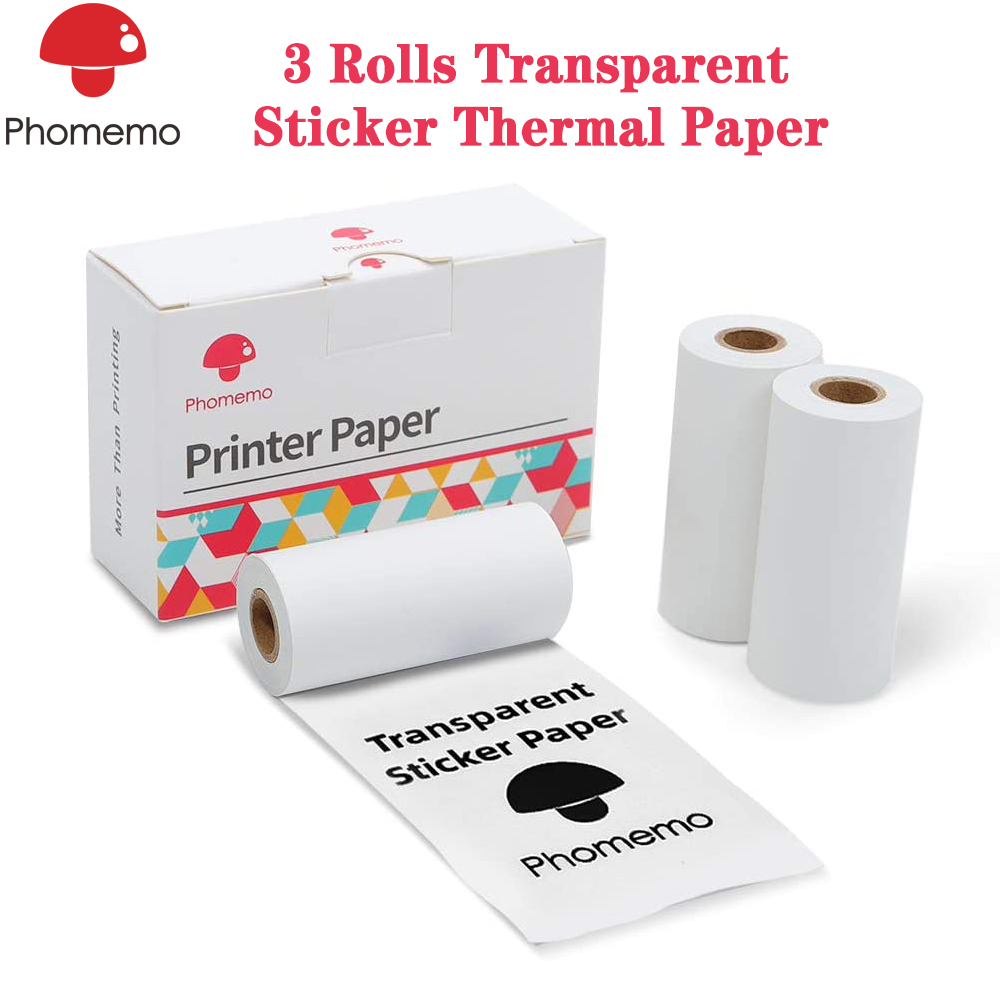 Adhesive Transparent Thermal Paper, For Phomemo M02/M02S Mini Bluetooth Thermal Printer, 50mm X 3.5m, Diameter 30mm, 3 Rolls