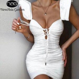 Image 1 - Женское мини платье с рюшами NewAsia, белое эластичное облегающее платье с рукавом бабочкой и глубоким v образным вырезом, на шнуровке, лето 2019