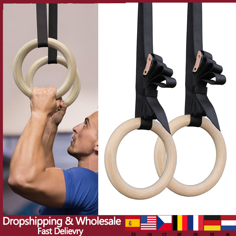 New Wooden 28mm Exercise Fitness Gymnastic Rings Gym Exercise Crossfit Pull Ups Muscle Ups